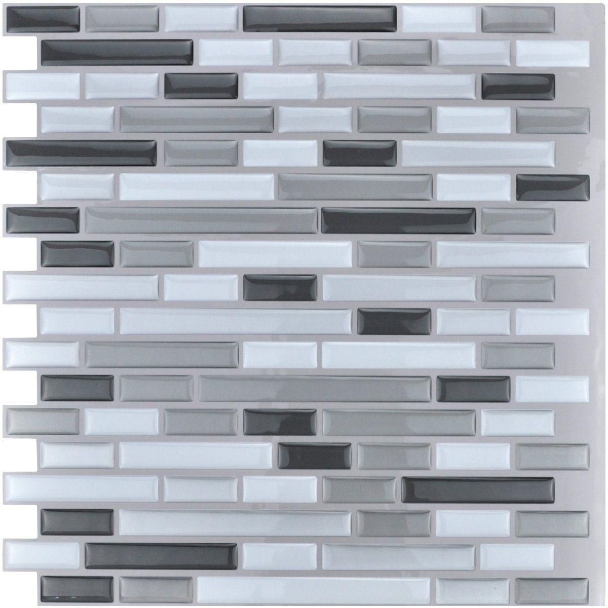"Art3d 12"" x 12"" Peel and Stick Tile Kitchen Backsplash Sticker Gray Brick (6 Tiles)"