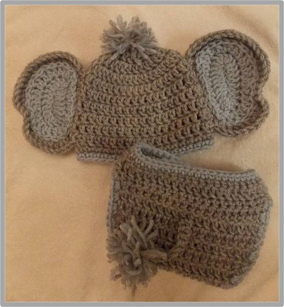 Baby Elephant Hat and Diaper Cover Pattern ... Instant Download via Etsy 767d8ea71c9