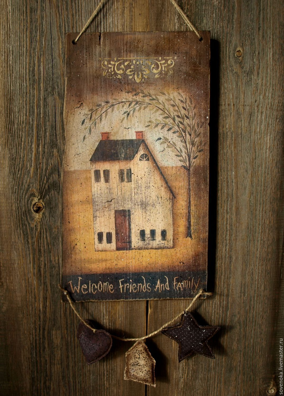 """Купить Панно """"Welcome"""" - коричневый, панно, панно на стену, кантри, прованс, кухонное панно, винтаж"""