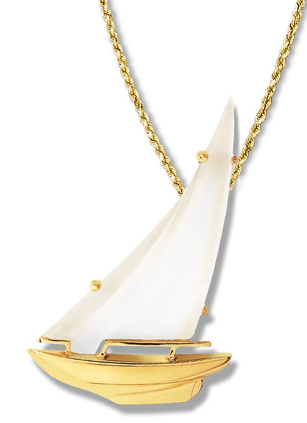 Sloop Frosted Crystal Sail Pendant - In 14k or 18k VA forward tack for a sailboat brooch and pendant. Combining the lines of a traditional hull with the warmth of hand cut, frosted crystal creates a graceful design #frostedcrystal #sailboatpendant #slooppendant