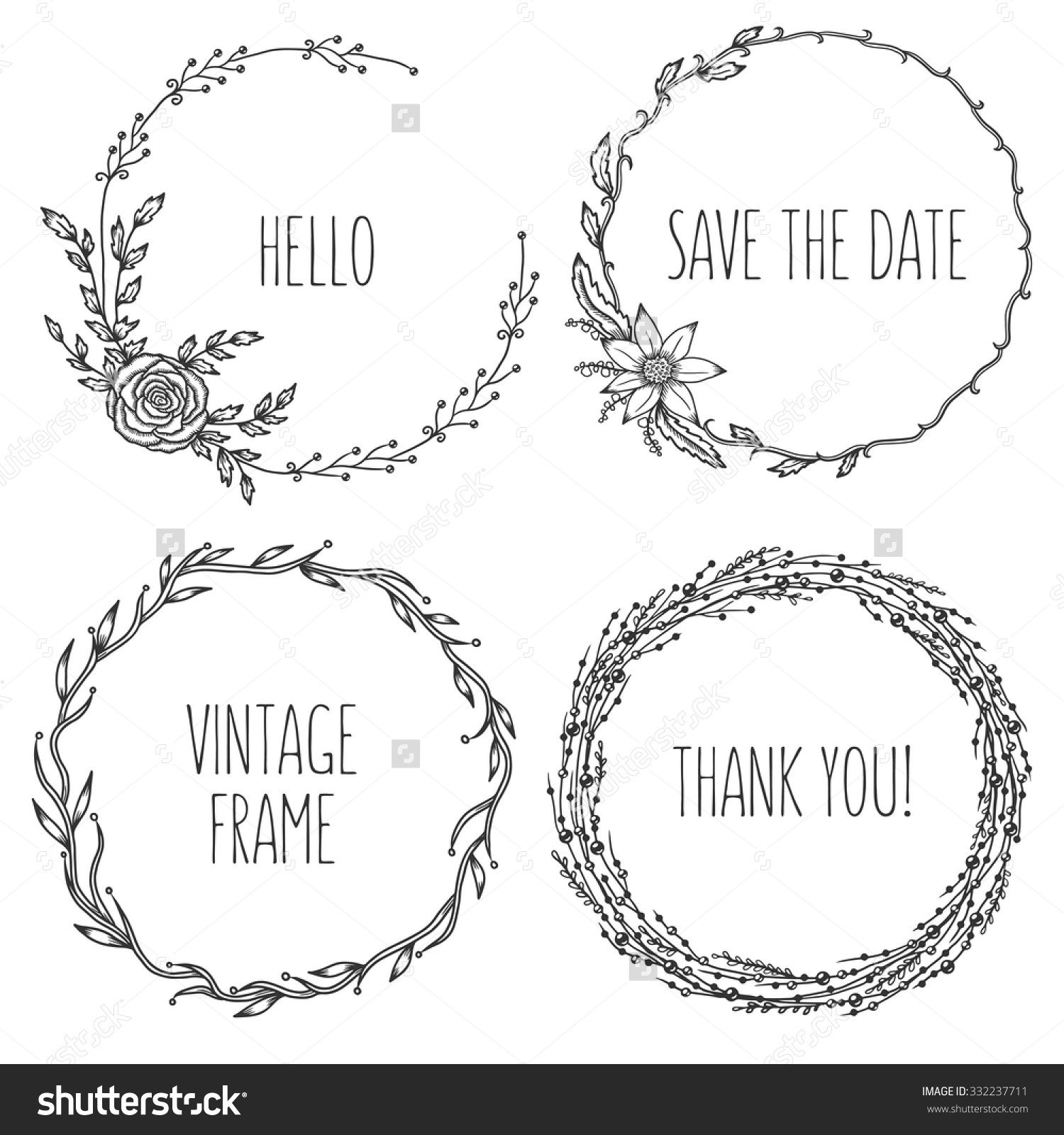 Vector vintage wreaths collection of trendy cute floral frames graphic design elements for wedding cards prints decoration greeting cards hand drawn round illustration set buy this stock vector on shutterstock junglespirit Images