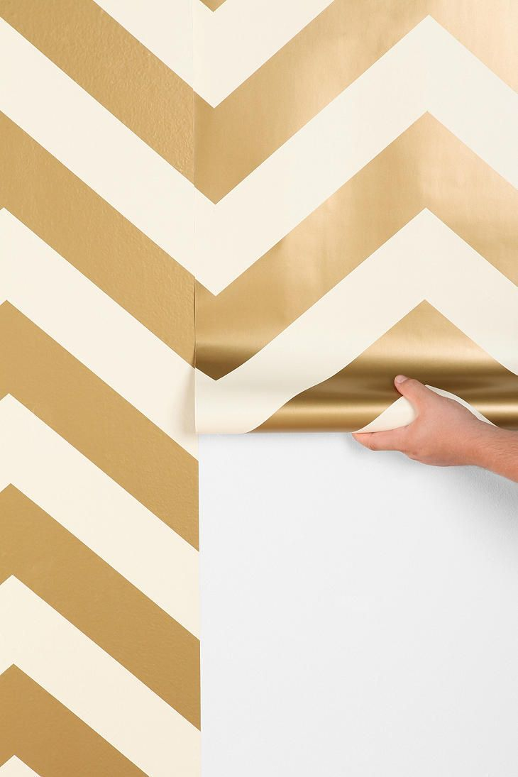 Vinyl Coated Self Adhesive Decorative Wallpaper In A Two Tone Gold Chevron One Wall The Dinning Room