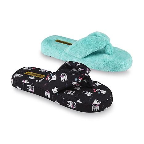 7b2aab867f89 Joe Boxer Women s Mellie Blue Pug Print Thong Slippers