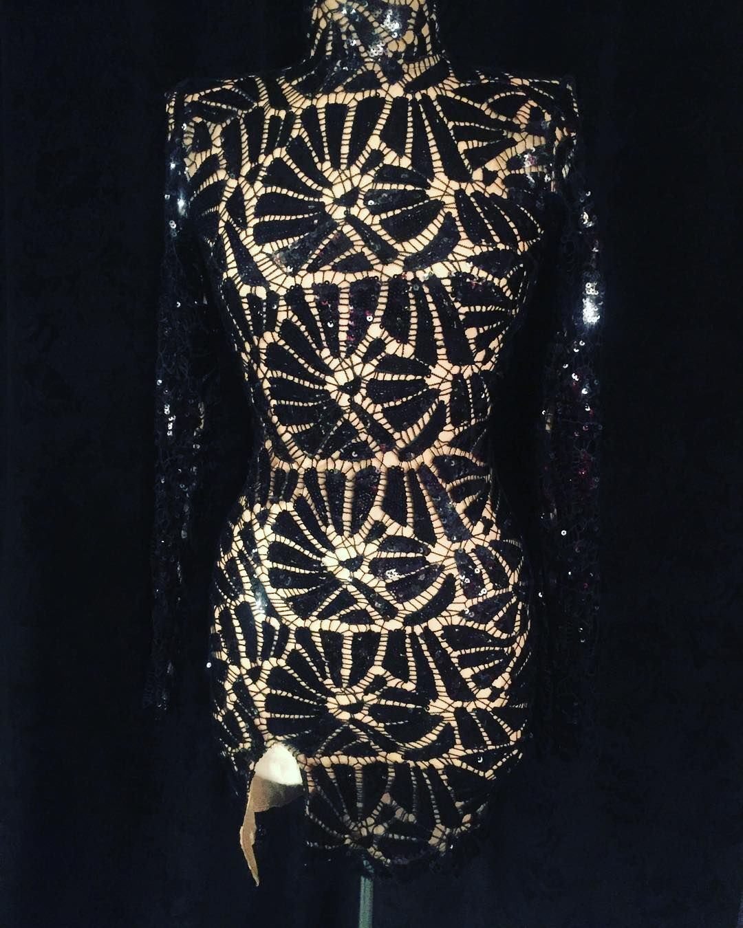 Black Lace Sequined Dress By Versailles Brooklyn