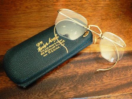 vintage men ... VINTAGE EYE WEAR glasses green leather case  ..