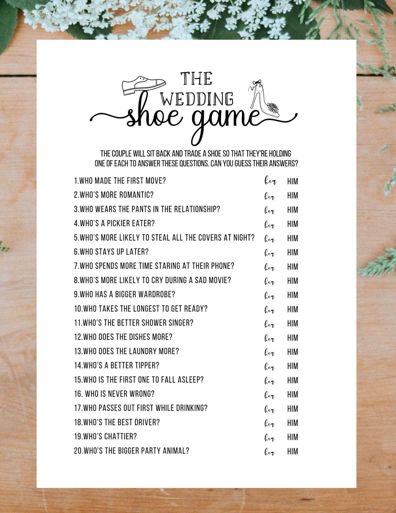 The Wedding Shoe Game Bridal Shower Game Printable