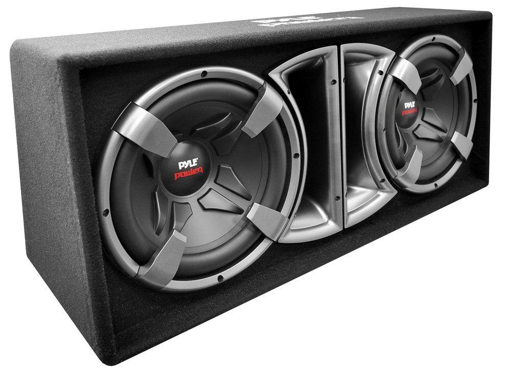 "Pyle PLPPS212 Pyle Power Dual 12-Inch Subwoofer Enclosure - Slim Design Forward Firing Vented System - Set of 2. Dual 12"" High Power Subwoofer - 500 Watts RMS / 1,000 Watts Peak. Black Molded Polypropylene Cone - Frequency Response: 30Hz - 3KHz. 2"" Voice Coil - SPL: 91dB. Foward Firing Slot Port - Dimensions: 32.4""W x 15.6""H x 14.4""D. 4 Ohm Impedance."