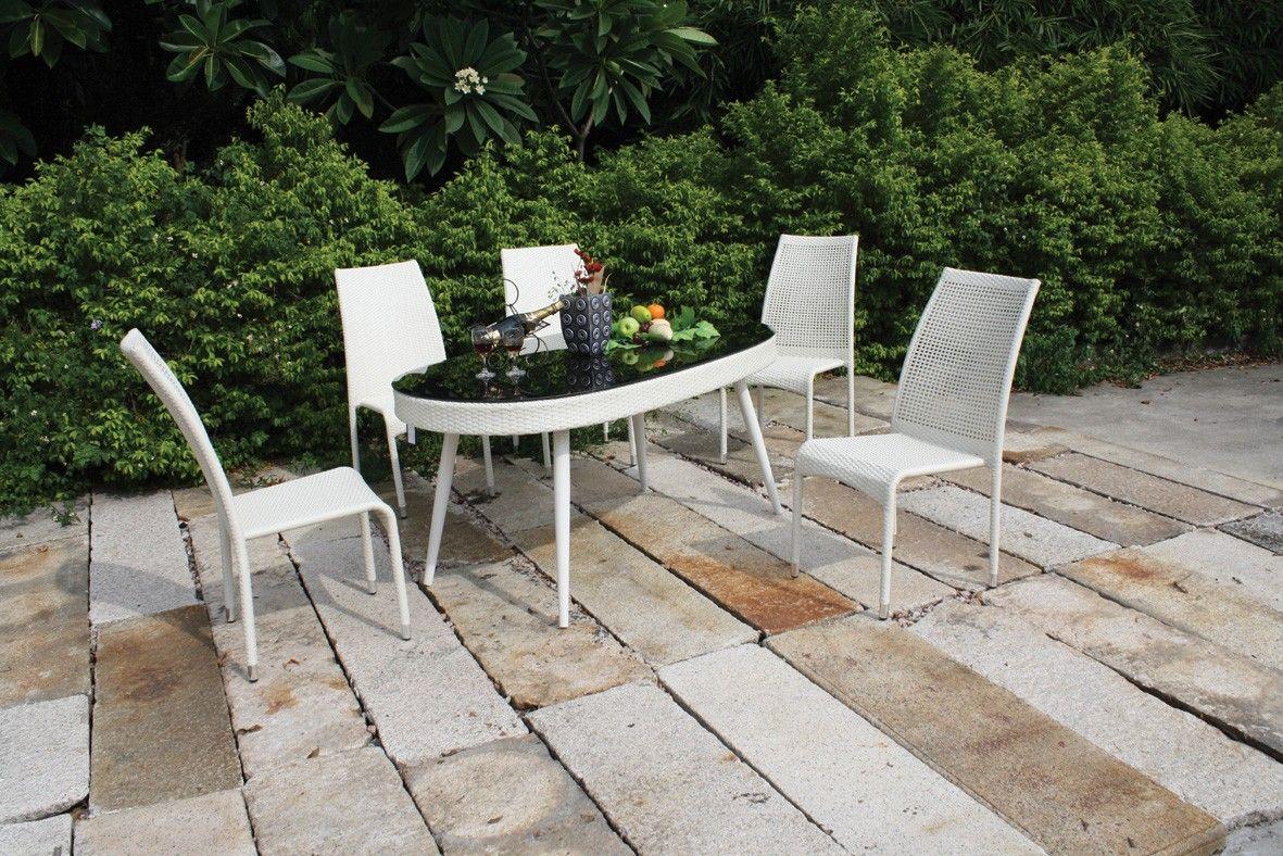 Justmoment tavolo in polirattan con vetro sabrina per for Arredo giardino esterno