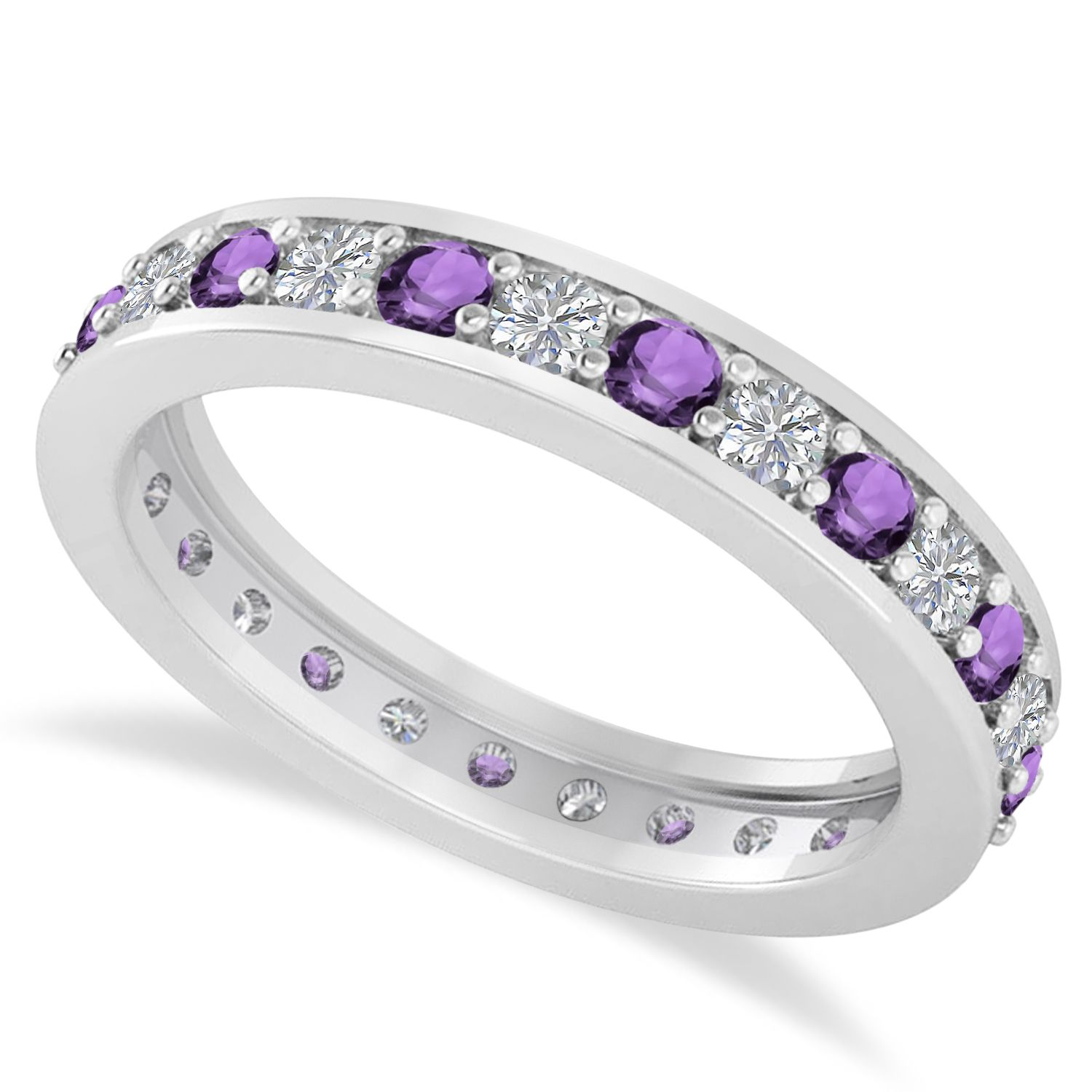 1 carat Natural Amethyst Eternity Band Ring in Sterling Silver