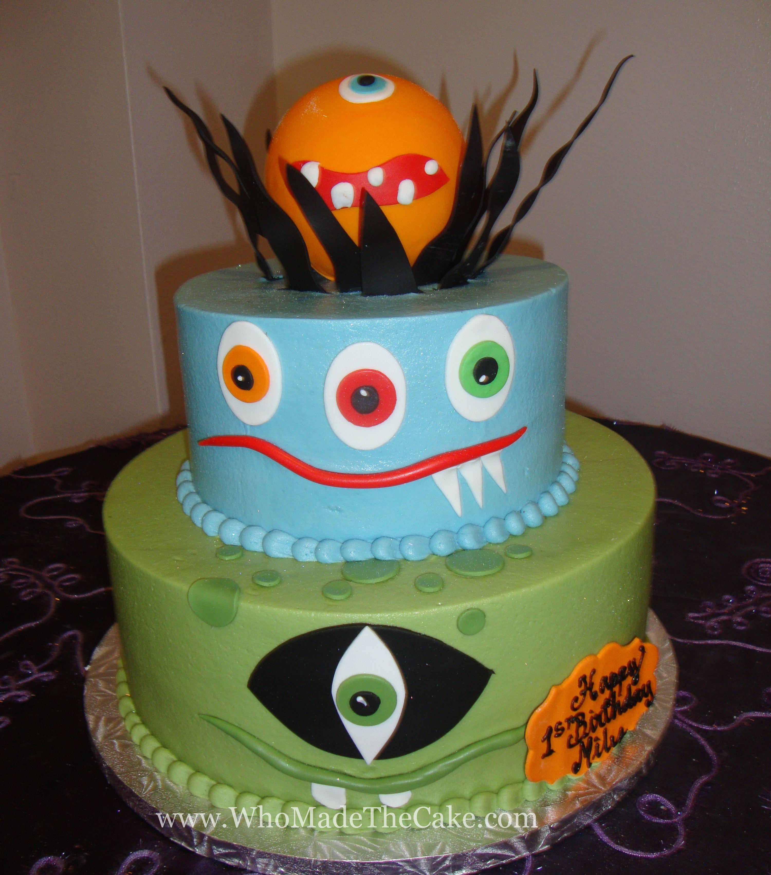 Monster theme birthday cake by www.WhoMadeTheCake.com. #monsterbirthdaycake