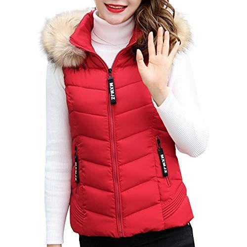 50cb839ec14e5f Huatime Winter Daunen Weste Mantel Damen - Mode Kurz Mit Abnehmbarer Kapuze  Bodywärmer Baumwolle Weste Ärmellos