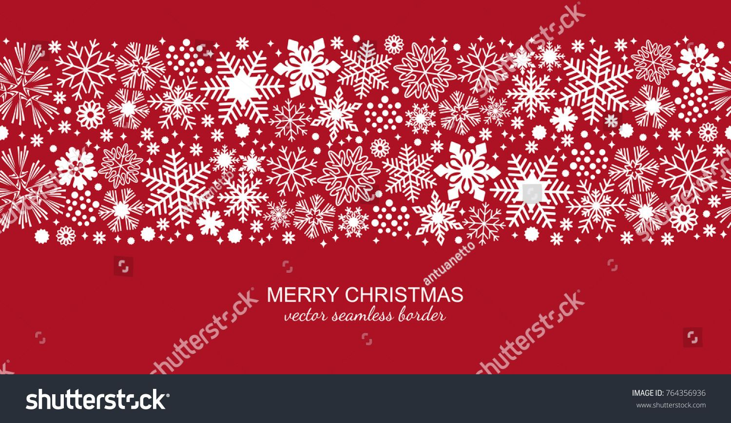 White Seamless Snowflake Border Isolated On Red Background Christmas Design For Postcard Or Greeting Card Vector Illustration Merry Xmas Snow Flake