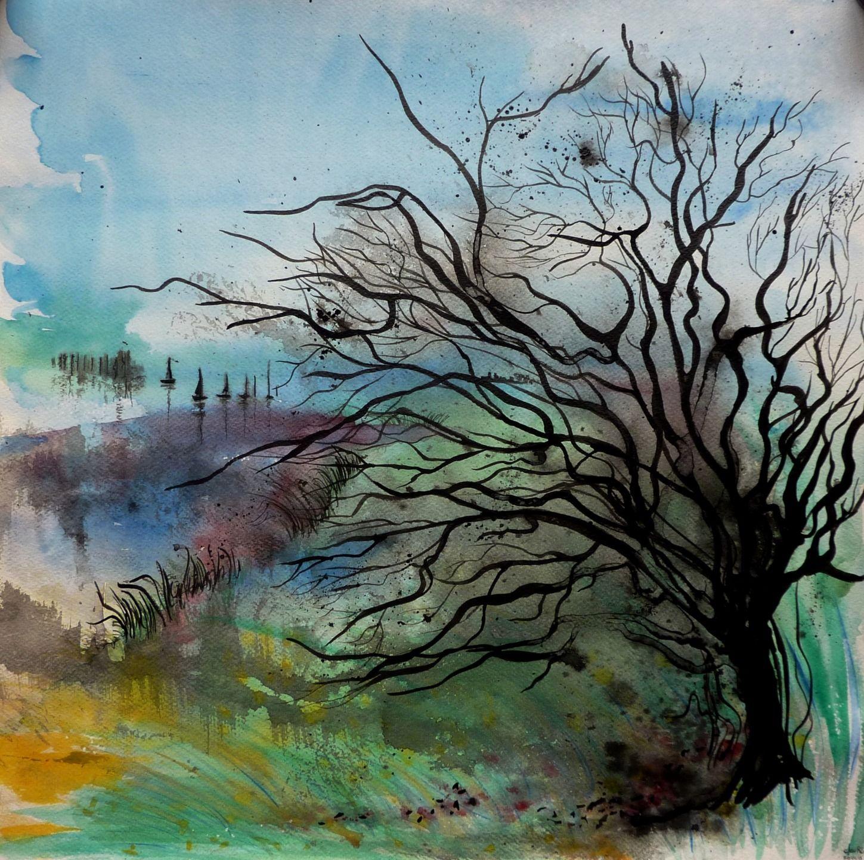 Derrière il y a demain, peinture technique mixte aquarelle et encre de Chine sur papier 50X50 cm ...