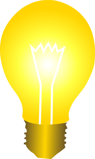 Clip art of a light bulb glowing with golden light | Sweet ...