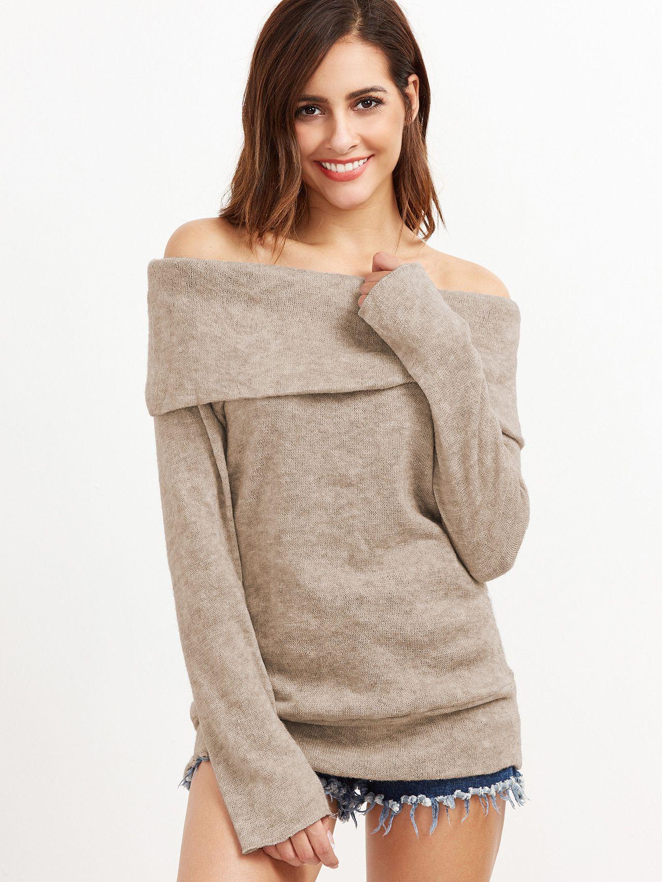 f5d839fb3f6ca Khaki Polyester Off Shoulder Foldover Knit T-shirt  T-shirt  Khaki   Polyester  Off Shoulder