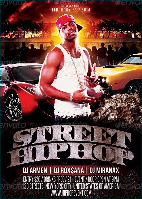 Street Hip Hop Mixtape Flyer Cd Cover Template  Party Flyer
