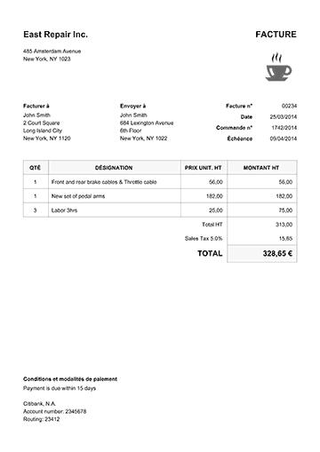 classique blanc facture proforma couture pinterest receipt template printable invoice. Black Bedroom Furniture Sets. Home Design Ideas