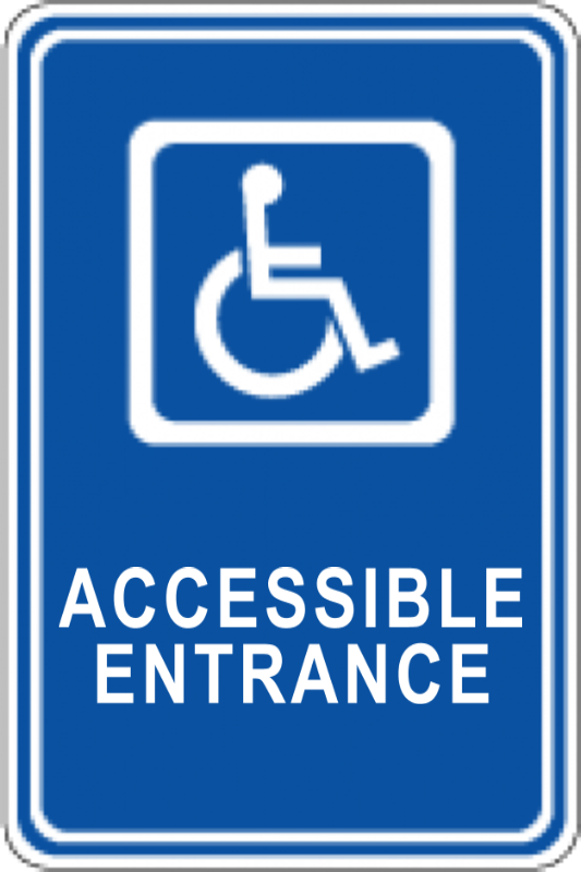 accessible entrance handicap sign front traffic control and