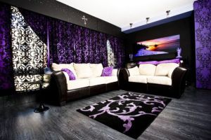 Black And Purple Gothic Style Living Room Ideas With Lace Sunshade Gothic Living Room Gothic Living Room Ideas Gothic Living Room Decor