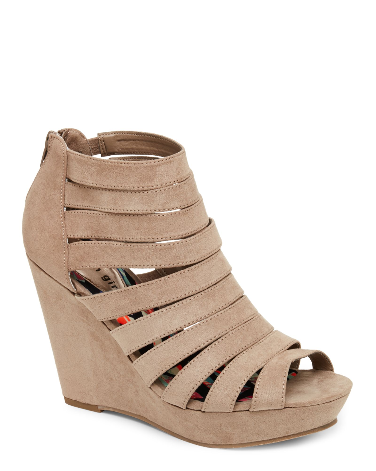 812920fcada Madden Girl Taupe Kiickit Caged Open Toe Platform Wedge Sandals ...