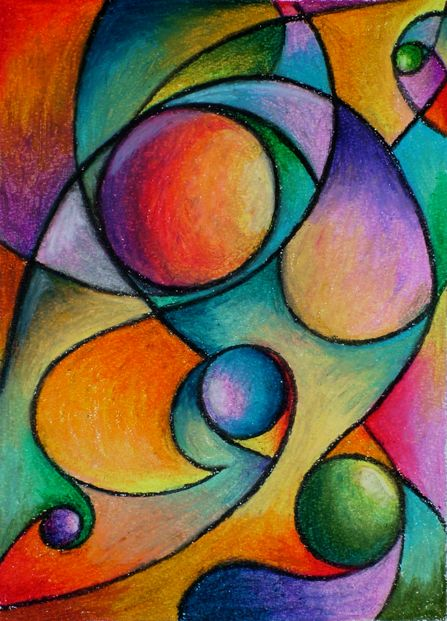 Dynamic Shape composition with Color Gradient fills in oil pastels