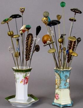 411 Vintage Hat Pins And Porcelain Hat Pin Holders Lot 411 Hat Pins Hats Vintage Antique Hats