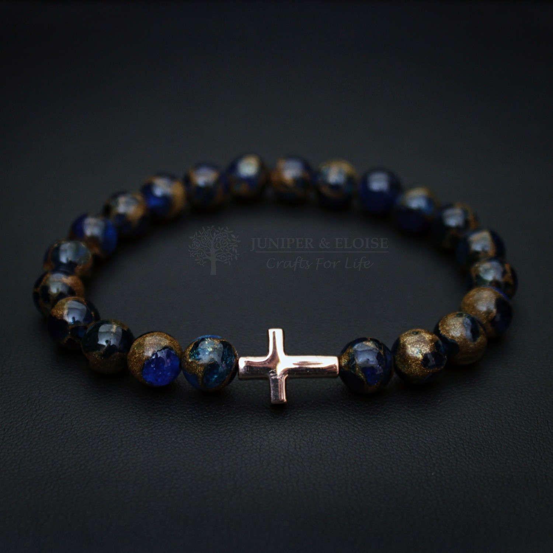 Cross charm bracelet stretch bracelet unisex jewelry for