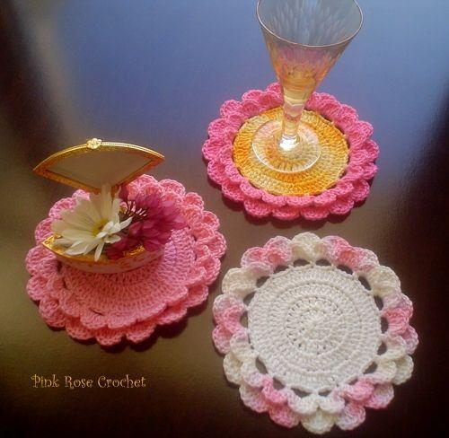 Centrinhos Flor Rosa Crochet Coasters--