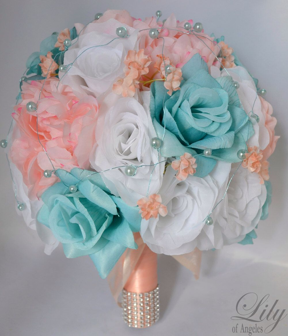 "17 Piece Package Wedding Bridal Bride Maid Of Honor Bridesmaid Bouquet Boutonniere Corsage Silk Flower AQUA PEACH ""Lily Of Angeles"" BLPI03 by LilyOfAngeles on Etsy https://www.etsy.com/listing/175348221/17-piece-package-wedding-bridal-bride"