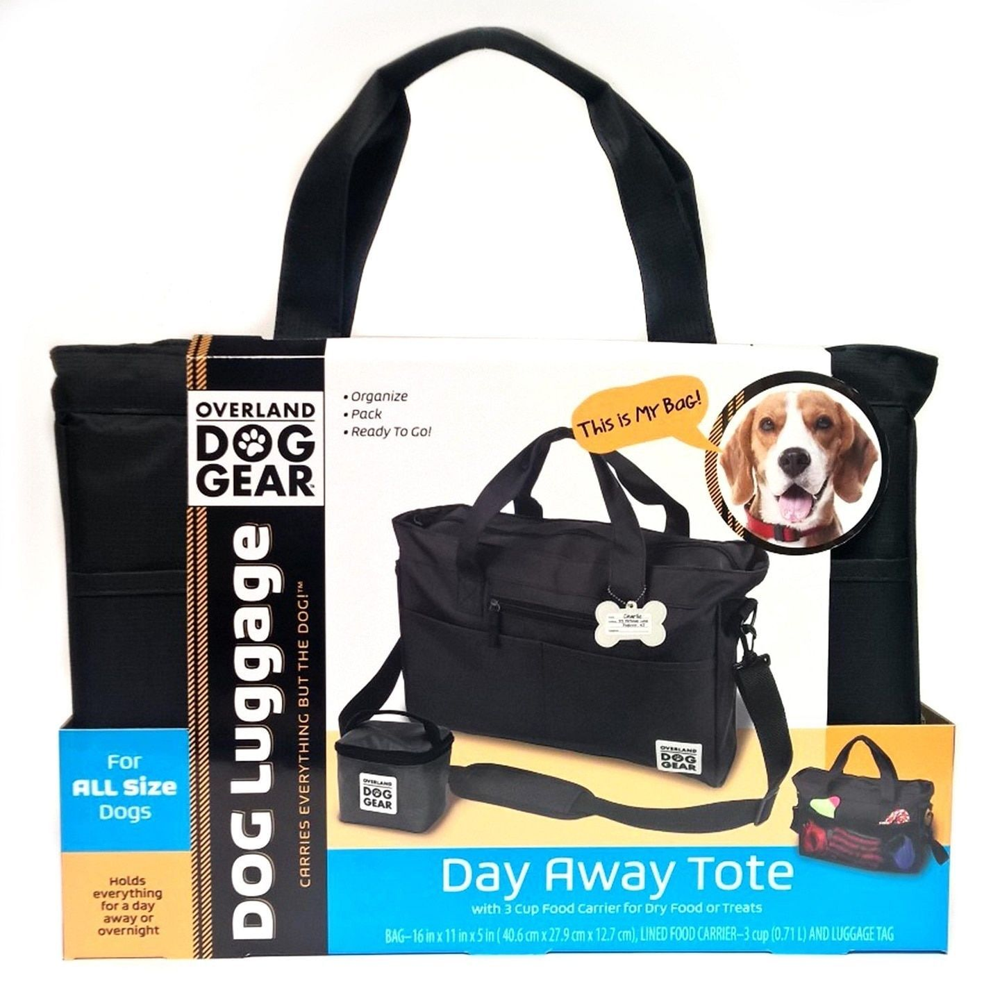 Overland Dog Gear Black Day Away Tote Bag And Carrier Overland