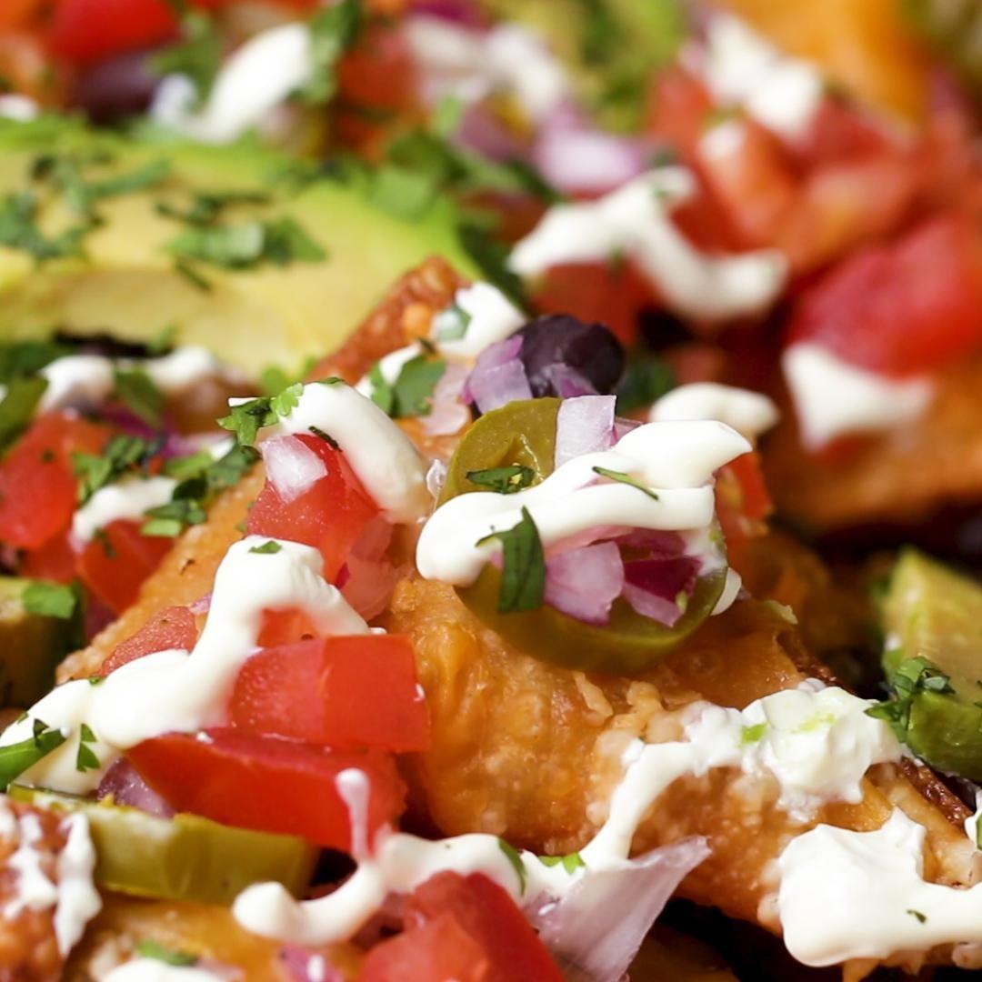 cheesy wonton nachos recipe by tasty recipe recipes food tasty pinterest