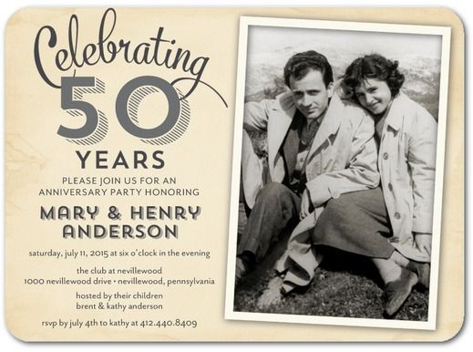 50th Wedding Anniversary Invitation Ideas: Signature White Photo Anniversary