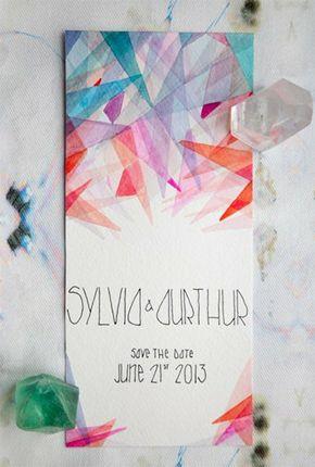 modern geometric watercolor wedding invitation spencer studios