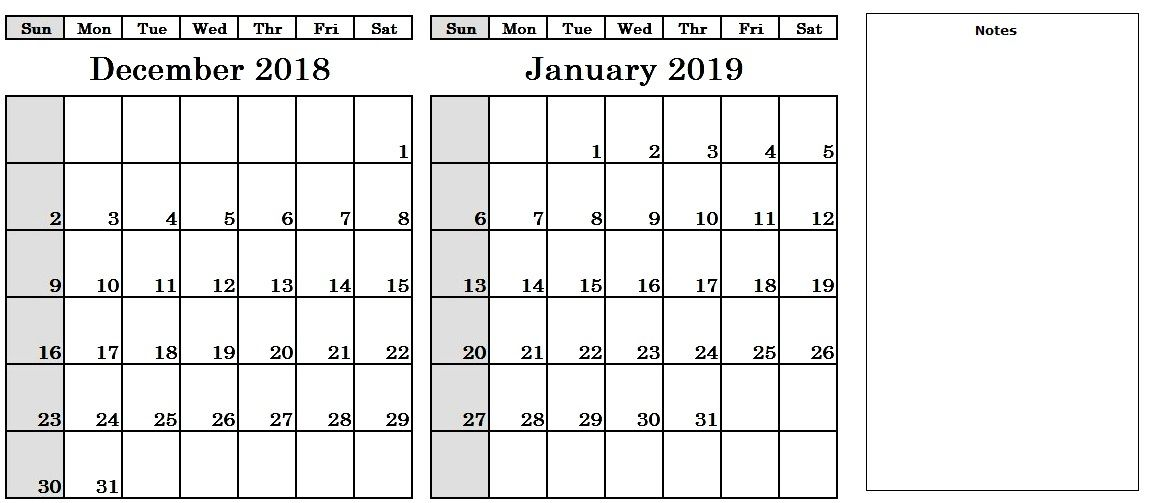 2018 December Calendar Excel December 2018 Calendar Pinterest