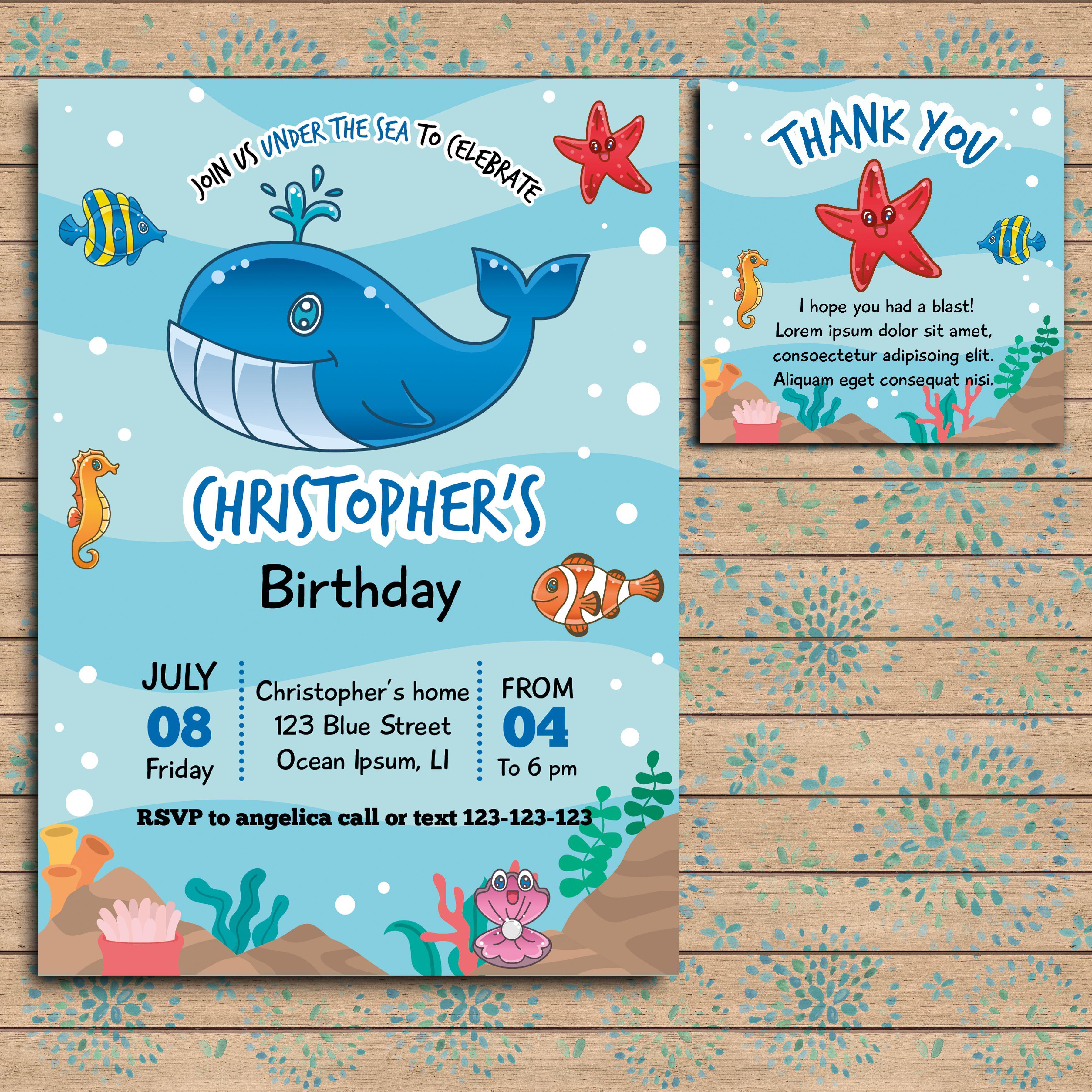 Under The Sea Birthday Invitation Ocean Theme Birthday