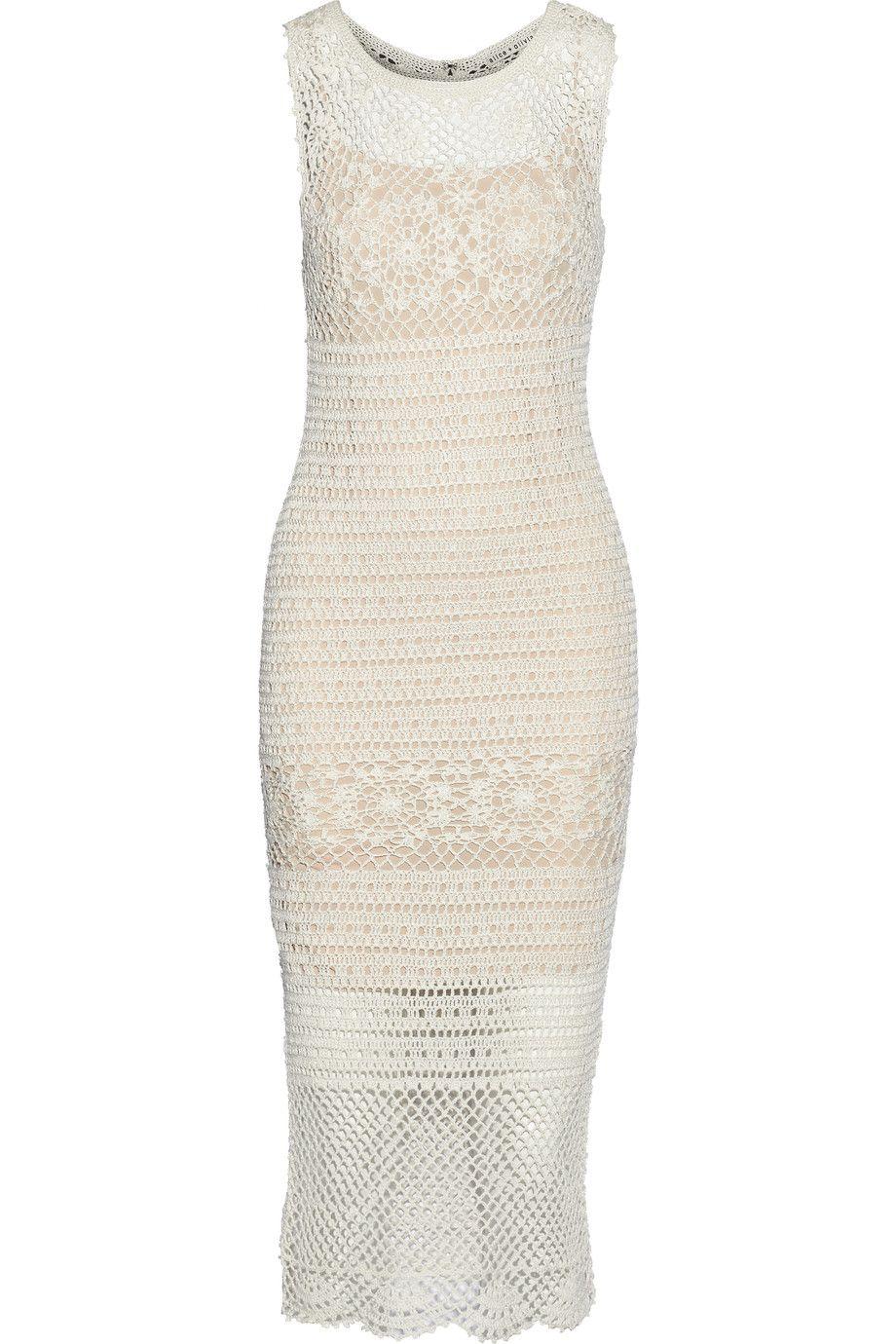Alice Olivia Amari Crocheted Linen Blend Midi Dress