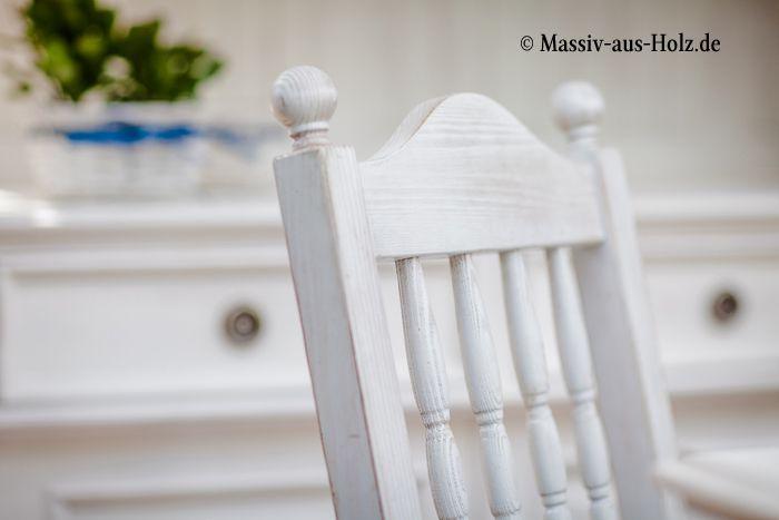 Holzstuhl in Shabby Chic weiß gewischt wwwmassiv-aus-holzde - küche landhaus weiß