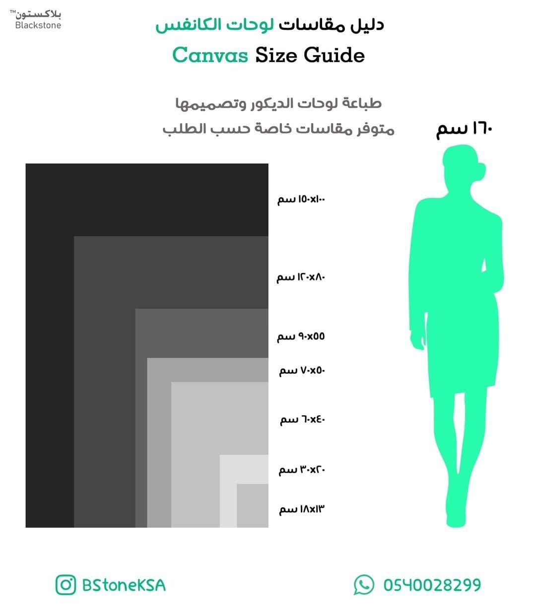 طباعة مقاس لوحة كانفس الرياض دليل Canvas Size Chart Bar Chart