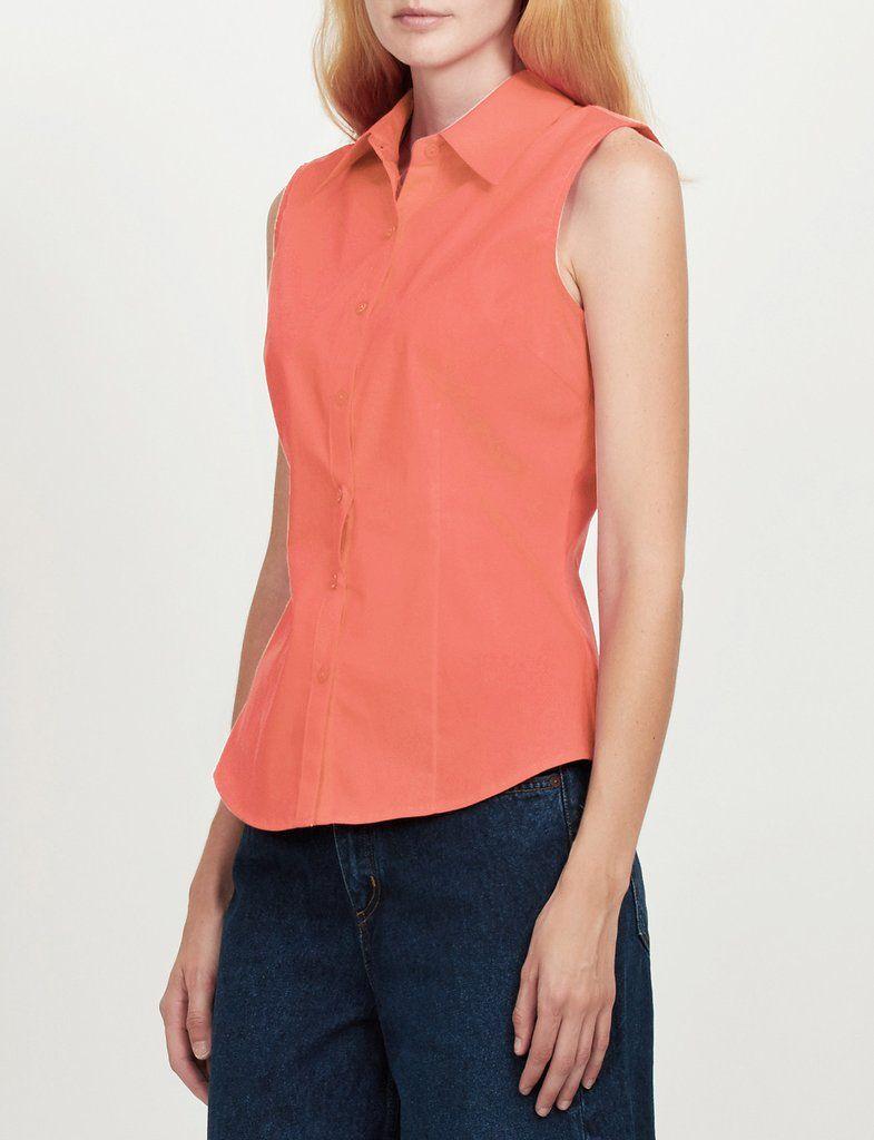 Womens Lightweight Cotton Sleeveless Button Down Shirt   Shirts ...