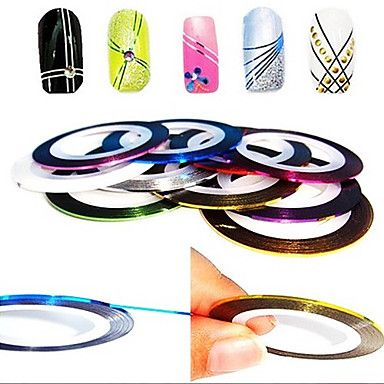 12PCS 12-Color afstribningstape Linje Nail Stripe Tape Nail Art Decoration Sticker 2015 – €1.89