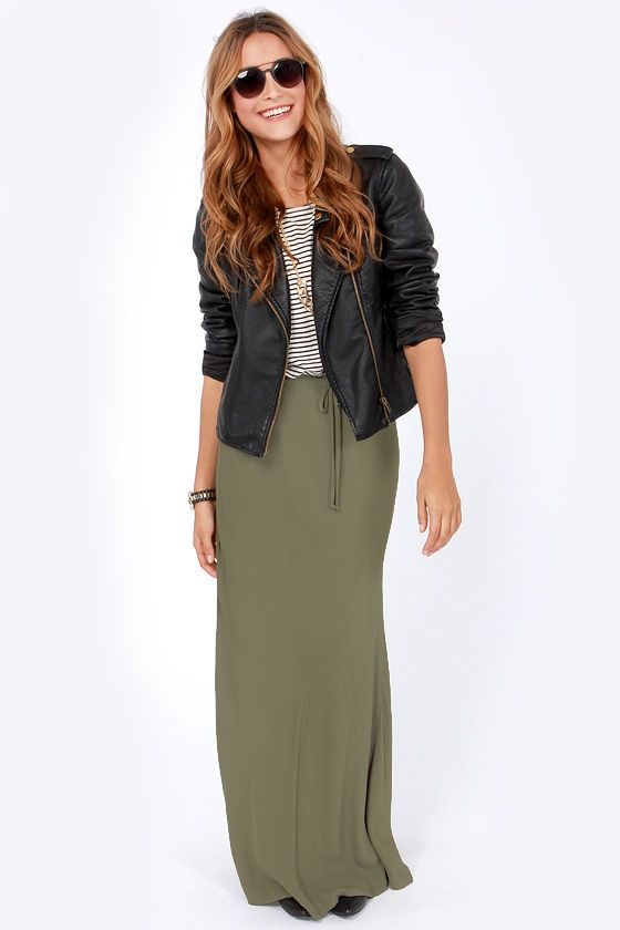 b59a8d9e1 Lucy Love Olive Green Maxi Skirt in 2019 | clothess | Olive maxi ...