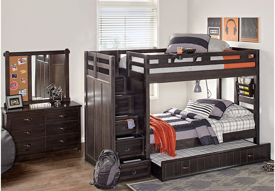 Creekside Charcoal Twin Twin Step Bunk Bed 899 99 102l X 42w X 68h Find Affordable Bunk Beds For Your Home That Will Complement Bedroom Furniture Stores Bedroom Sets Bunk Bed Sets