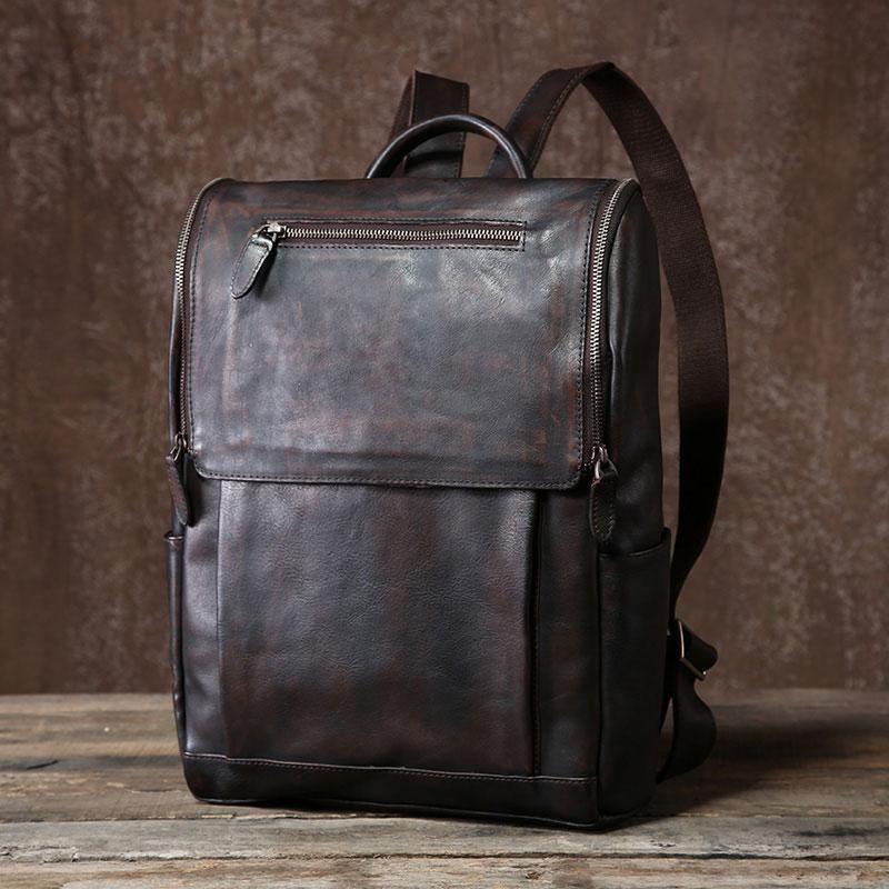 20ac23ca31 Handmade Leather Mens Vintage Black Cool Backpack Large Travel  bag Hik –  iChainWallets