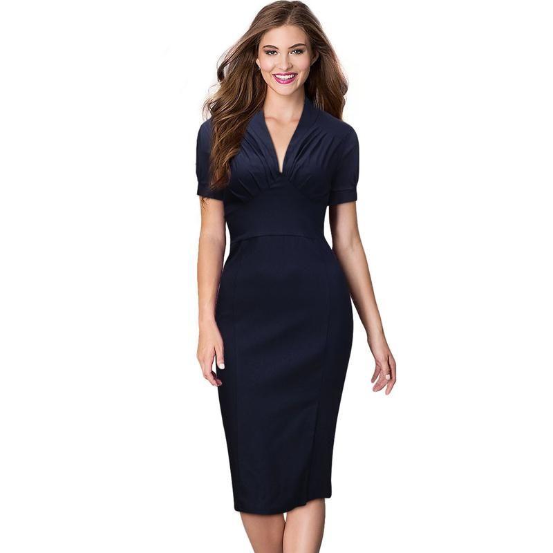 495e427680 Womens Elegant Business Office Dress V-neck Short Sleeves Navy Knee-length  Drapped Bodycon Pencil Dress Wear to Work