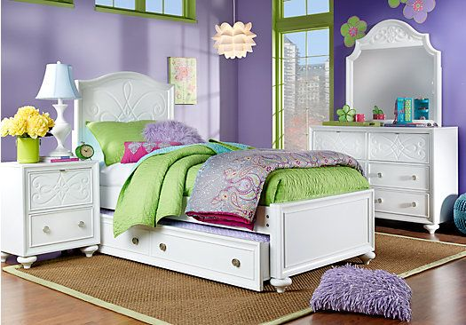 Picture Of Disney Fairies Pearl 5 Pc Twin Bedroom From Girlsu0027 Bedroom Sets  Furniture