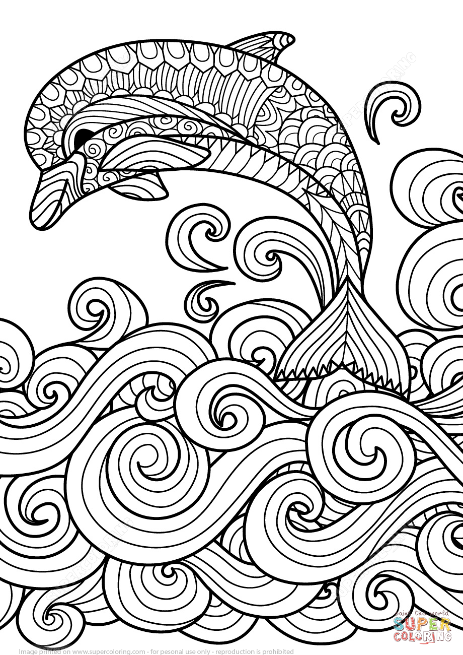 zentangle dolphin with scrolling sea wave coloring page from zentangle category select from 25683 printable crafts of cartoons nature animals - Animal Mandala Coloring Pages Easy