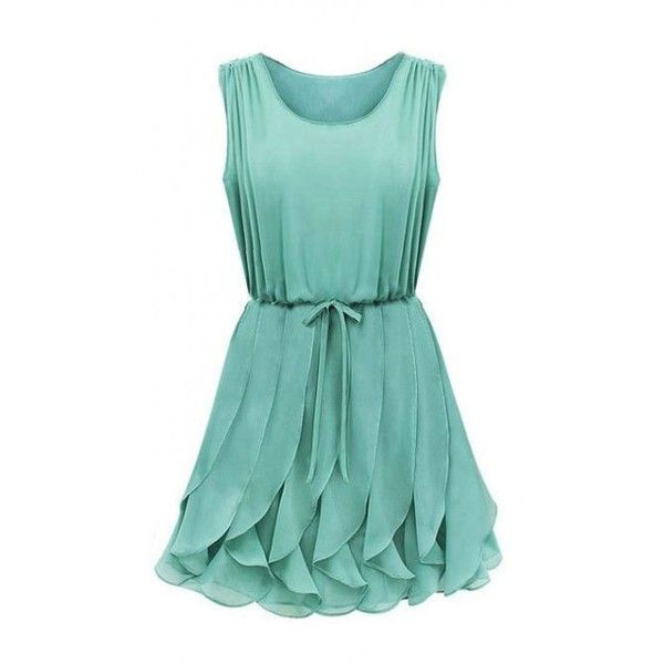LUCLUC Green Frilled Sleeveless Chiffon Dress ($30) ❤ liked on Polyvore featuring dresses, chiffon dress, flounce dress, no sleeve dress, sleeveless chiffon dress and green cocktail dress