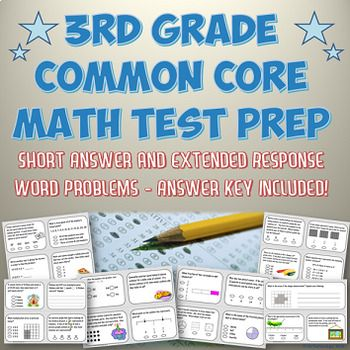 3rd Grade Common Core Aligned Math Test Prep Packet with Answer Key ...