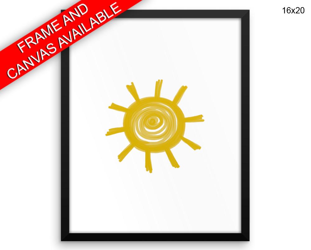 Sun Wall Art Framed Sun Canvas Print Sun Framed Wall Art Sun Poster ...