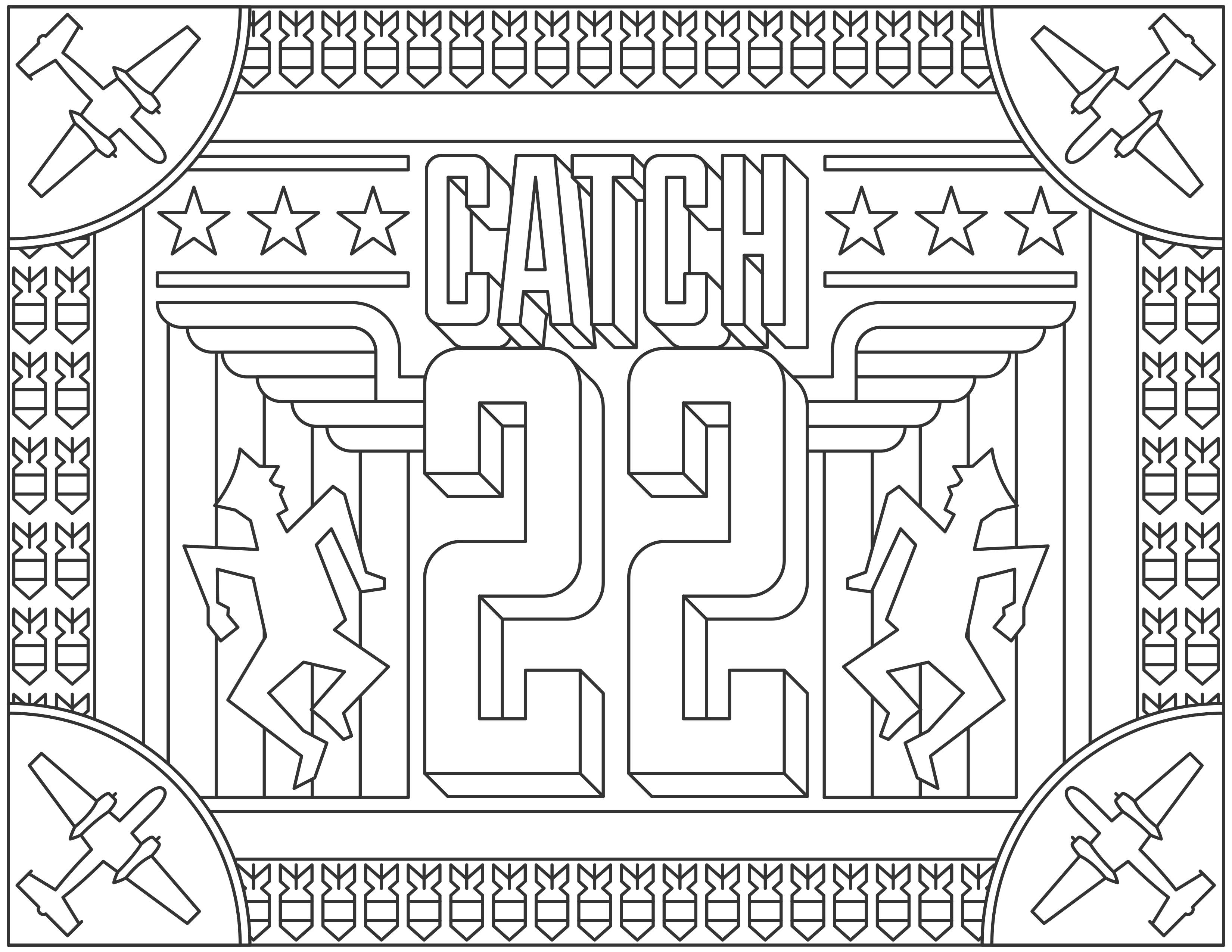 Coloring page inspired by the Movie 'Catch 22', for the website Readers.com. From the gallery : Movie Posters Source :  readers
